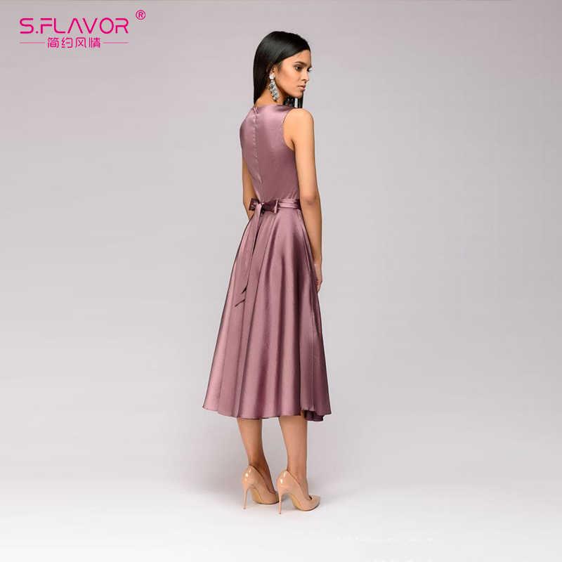 S. Smaak Vintage Stijl Vrouwen Midi Jurk Mode Mouwloze Elegante A-lijn Vestidos Met Riem Solid Women Casual Zomer Jurken