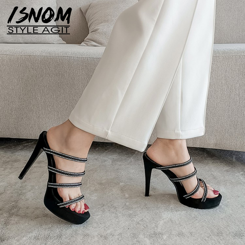 ISNOM Thin High Heel Slippers Women Shoes Crystal Strip Platform Slides Mules Stiletto Heels Ladies Shoes Woman Suede Slippers