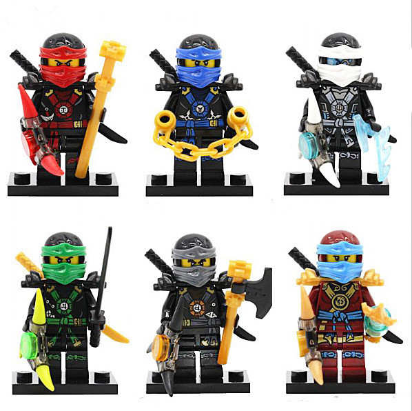 60pcs/lot Decool 0086-0091 Ninjagoe Green Ghost Nya Lloyd Kai Jay Cole Zane Figure With Weapon Building Block Children Toys Gift