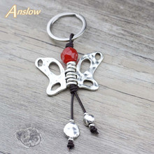 Anslow Creative Design Jewelry Antique Silver Butterfly Key Rings For Elegant Woman Chain Bag Mothers Day Gift LOW0011KY