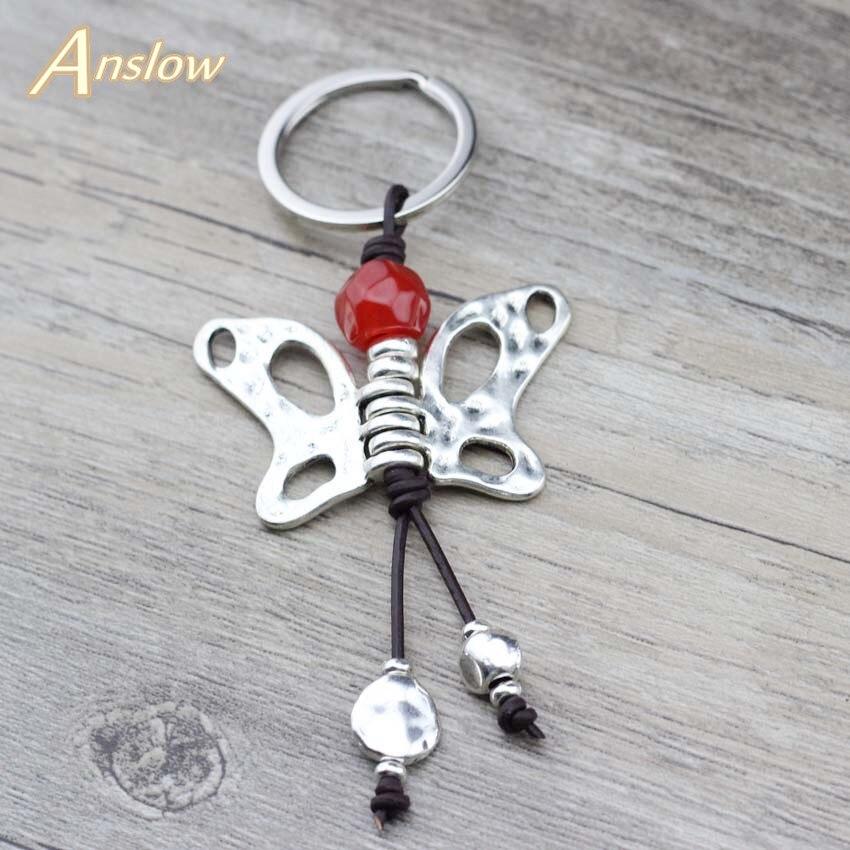 Anslow Design Criativo Chave Anéis de Jóias de Prata Antigo Da Borboleta Para A Mulher Elegante LOW0011KY Chave Cadeia Saco de Presente Do Dia Das Mães