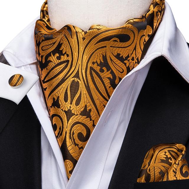 Yellow Gold Paisley Cravat Ascot Tie Floral Scarf A8