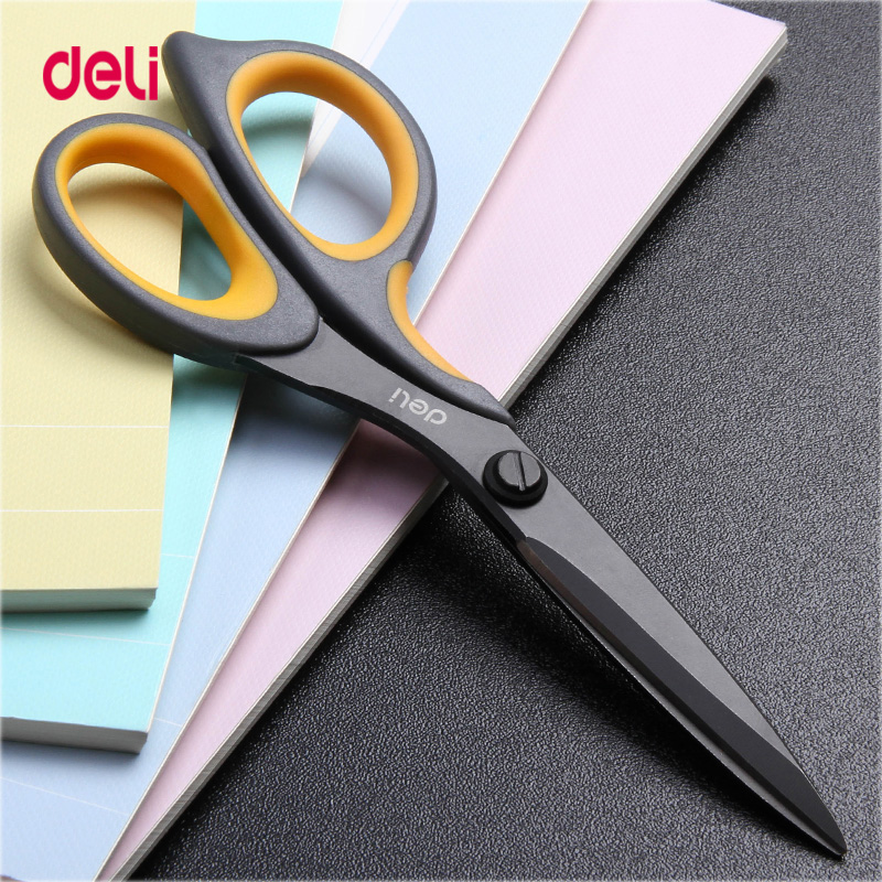 DELI Utility Knife  Scissors Teflon Coated Soft-touch Stainless Steel 5 Inch Home Office Scissor Hand Craft Scissors Stationery