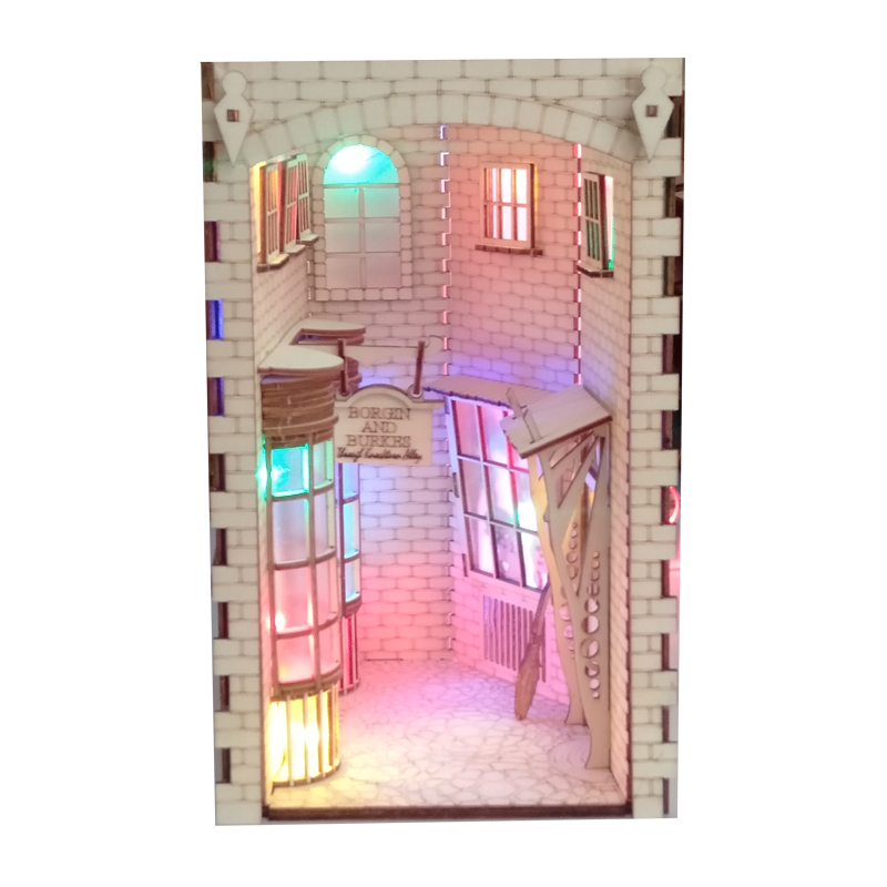 DIY Diagon Alley Book Nook Wooden Bookend Bookshelf Inserts Arts Bookcase Horror Street Building With Light Kit Craft Decor Gift