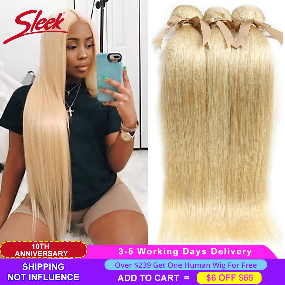 Sleek 613 Honey Blonde Bundles Straight Hair Brazilian Hair Weave Bundles 100% Straight Remy Hair Extensions 10 To 26 Inches