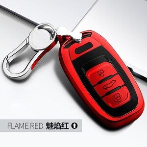 Image 5 - High Quality TPU Chrome Car Key Case Cover Bag fit for Audi Q5 A4 A5 A6 A7 A8 S5 S6 S7 S8 Key Shell Protector Auto Key Chains
