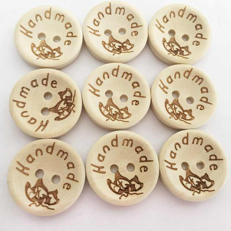 100pcs//PACK Mixed Retro Vintage 2 Holes Wooden Buttons Sewing DIY Crafting HOT