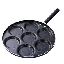 Многофункциональная Бытовая черная антипригарная сковорода с семью отверстиями практичная омлет блинчики яйцо пельмень Гамбург Форма Ско...