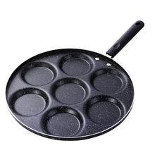Multifuncional casa preto sete-buraco antiaderente pan prático omelete panquecas ovo bolinho hamburgo molde pancake pan