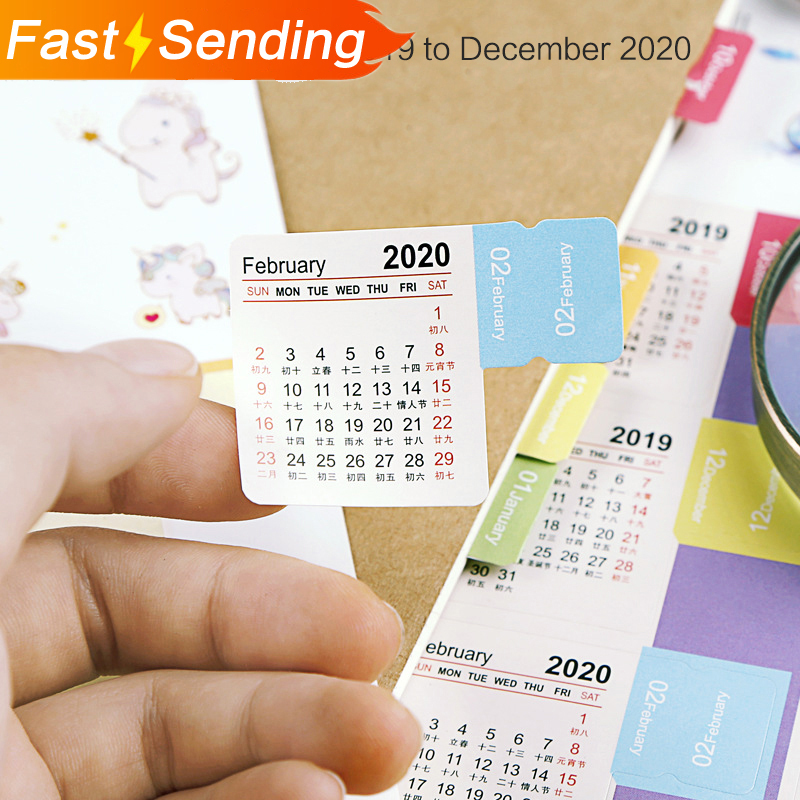 JIANWU 2019 2020 New Cartoon Color Calendar Sticker Washi Scrapbook Decoration Planner Diy Sticker Notebook Office Stationery