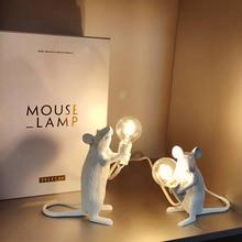 Resin Mouse Table Lamp Nordic Animal LED Night Lights Kids' Room Decor EU/AU/US/UK Plug