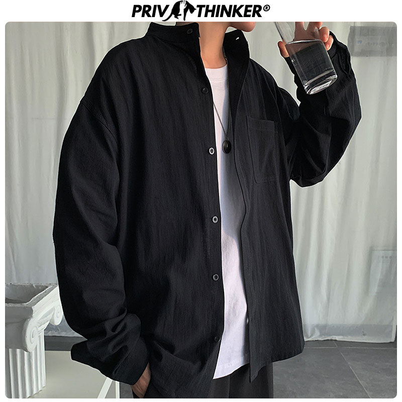 Privathinker Cotton Autumn Korean Mens Shirts 2020 Pockets Slim Fit  Men Loose Shirt Stand Collar Male Clothes Street Style Tops