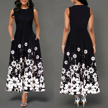 Sleeveless Floral Printed Elegant Summer Beach Maxi Dress 1