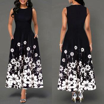 Sleeveless Floral Printed Elegant Summer Beach Maxi Dress 1