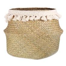 Seagrass Woven Storage Baskets Wicker Basket Garden Potted Foldable Flower Vase Storage Pot Laundry Basket Organizer Home Decor