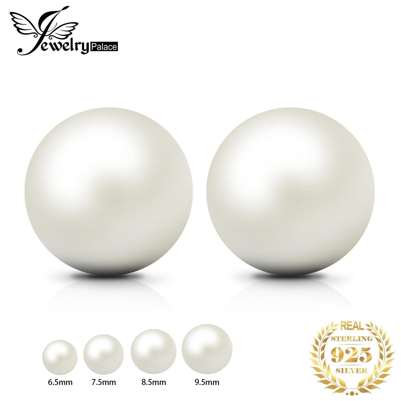 JPalace Freshwater Cultured Pearl Ball Stud Earrings 925 Sterling Silver Earrings For Women Korean Earings Fashion Jewelry 2019