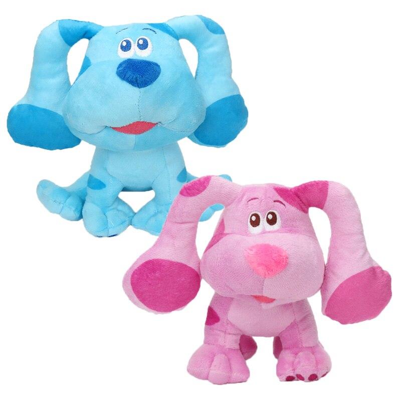 18 см; Синие туфли с зацепок и вы! Мягкая кукла Beanbag, мультяшная голубая розовая пятнистая собака, плюшевые игрушки, синие подсказки, плюшевая ...