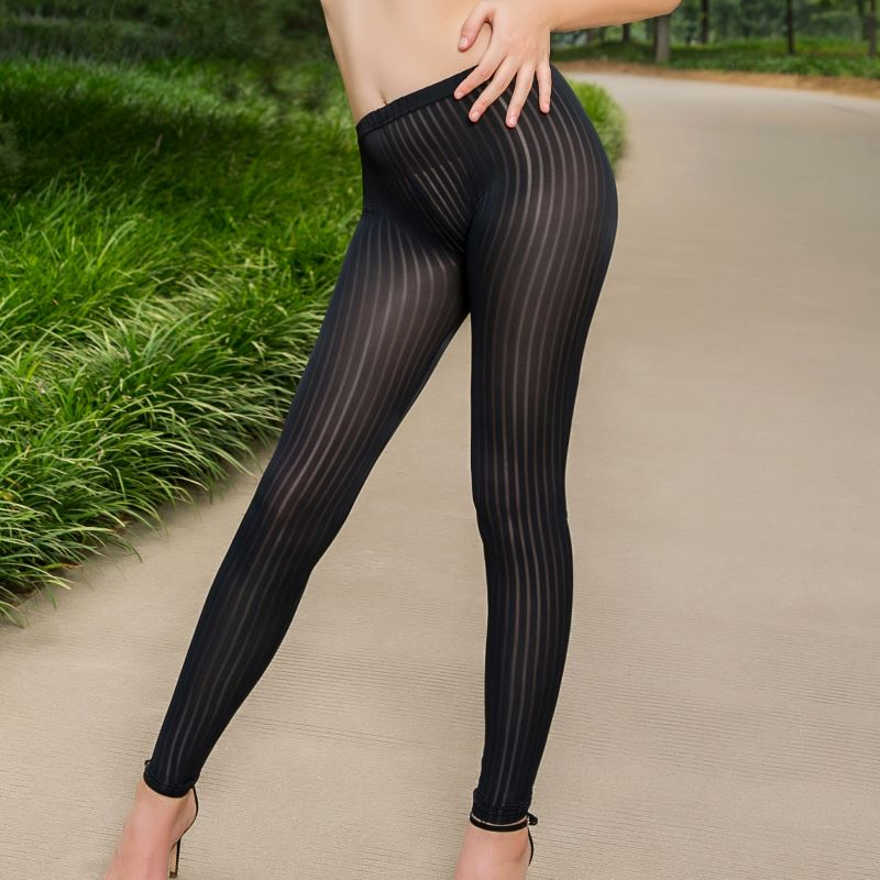 Sexy Women Vertical Stripes Nylon Open Crotch Leggings Vertical Micro Transparent Low Waist High Elastic Hot Erotic Pencil Pants