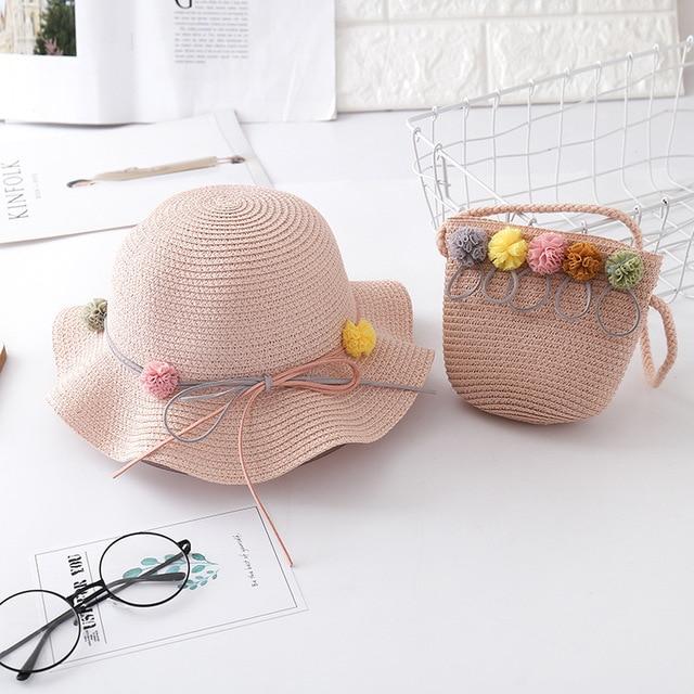 New summer child casual straw hat+ handbags  Kid girls Outdoor holiday panama cap gorros straw bags Sun hat