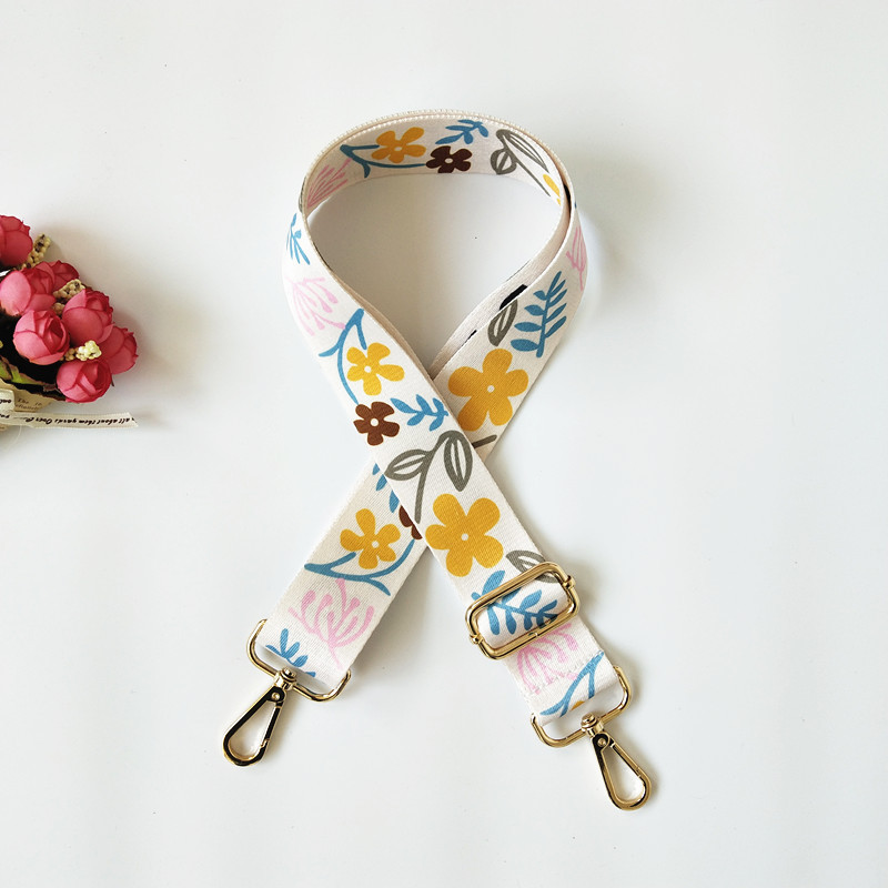 Nylon Fashion Colorful Belt Bag Strap Rainbow Flower Bag Accessories Replacement Wide Straps For Shoulder Handbag Crossbody Bags