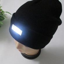 5 LED Light Hat Warm Winter Beanies Gorro Fishing Angling Camping Black Caps Kni