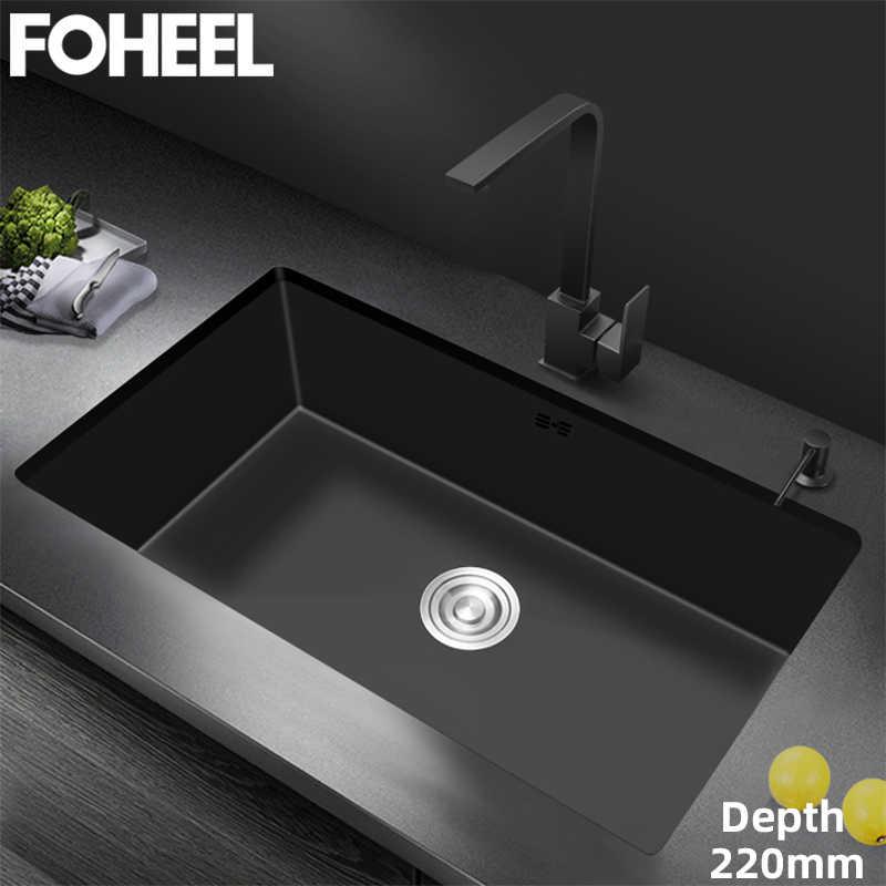 foheel black undermount deep sink kitchen sink single bowl handmade basket strainer washing black sink big range fks08