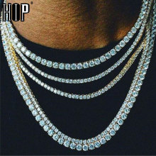 Hip Hop 3/4/5 MM Bling Iced Out Chain 1 Row Tennis Chain AAA CZ Stone Gold Silver Cubic Zircon Necklaces For Men Jewelry недорого