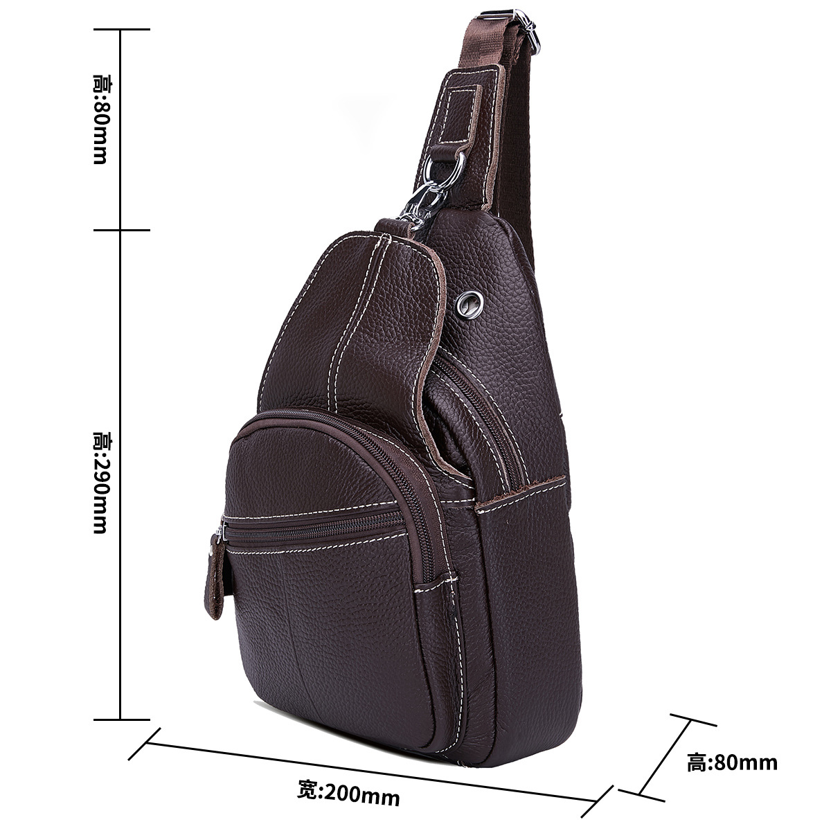 Genuine leather Male and female single shoulder bag Travelling Multifunction Double deck Zipper Brown Coffee Black