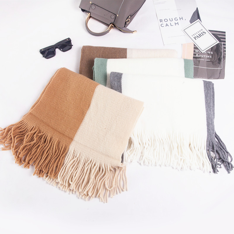 Scarf 2019 Japanese And Korean Style Autumn And Winter New Style Warp Knitting Long Tassels Mixed Colors Wool Scarf Women's Knit