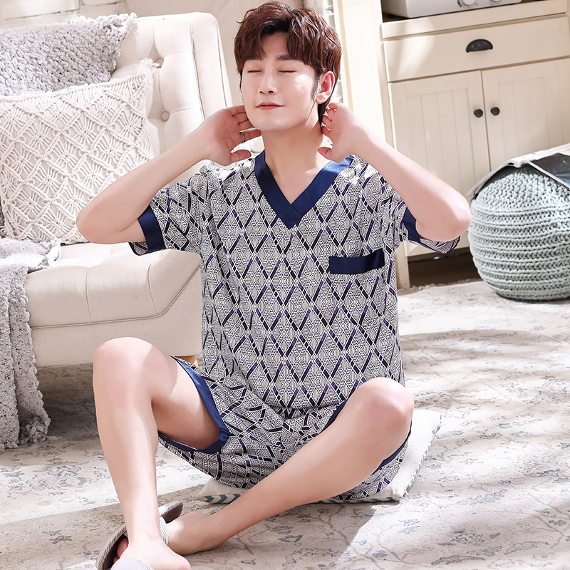 Luxury Men Home Wear Clothing 2020 Summer V-neck Silk Sleepwear Top For Men Leisure Loose Elastic Pants Pyjamas Short Nightwear