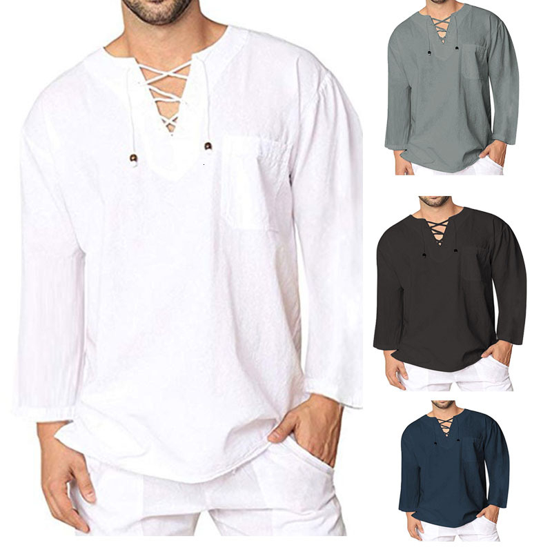Men Medieval Clothing Loose Blouse Saudi Arabia Bandage Tee Tops Male Cotton Linen T-shirt Viking Pirate Knight Cosplay Costumes