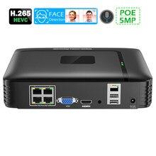 4Channel PoE NVR 5MP CCTV di Sorveglianza NVR 48V PoE HI3536 Per H.264 H.265 IP Della Macchina Fotografica 3.5CH HDD 48V POE Audio da 3.5mm Viso di Rilevamento