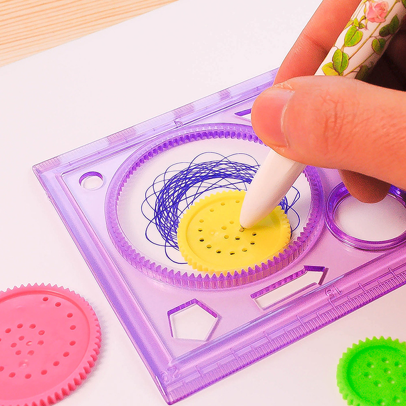Improve Start Work Ability Children Drawing Plastic Ruler Painting Multi-function Interesting Puzzle Spirograph  GY88