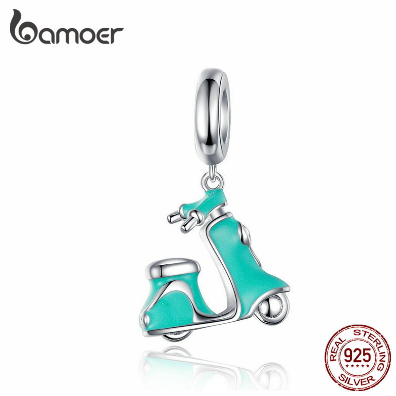 BAMOER Enamel Bike Charm For Bracelet 925 Sterling Silver Electric Bicycles Pendant Fit Women Necklace DIY Jewelry SCC1201