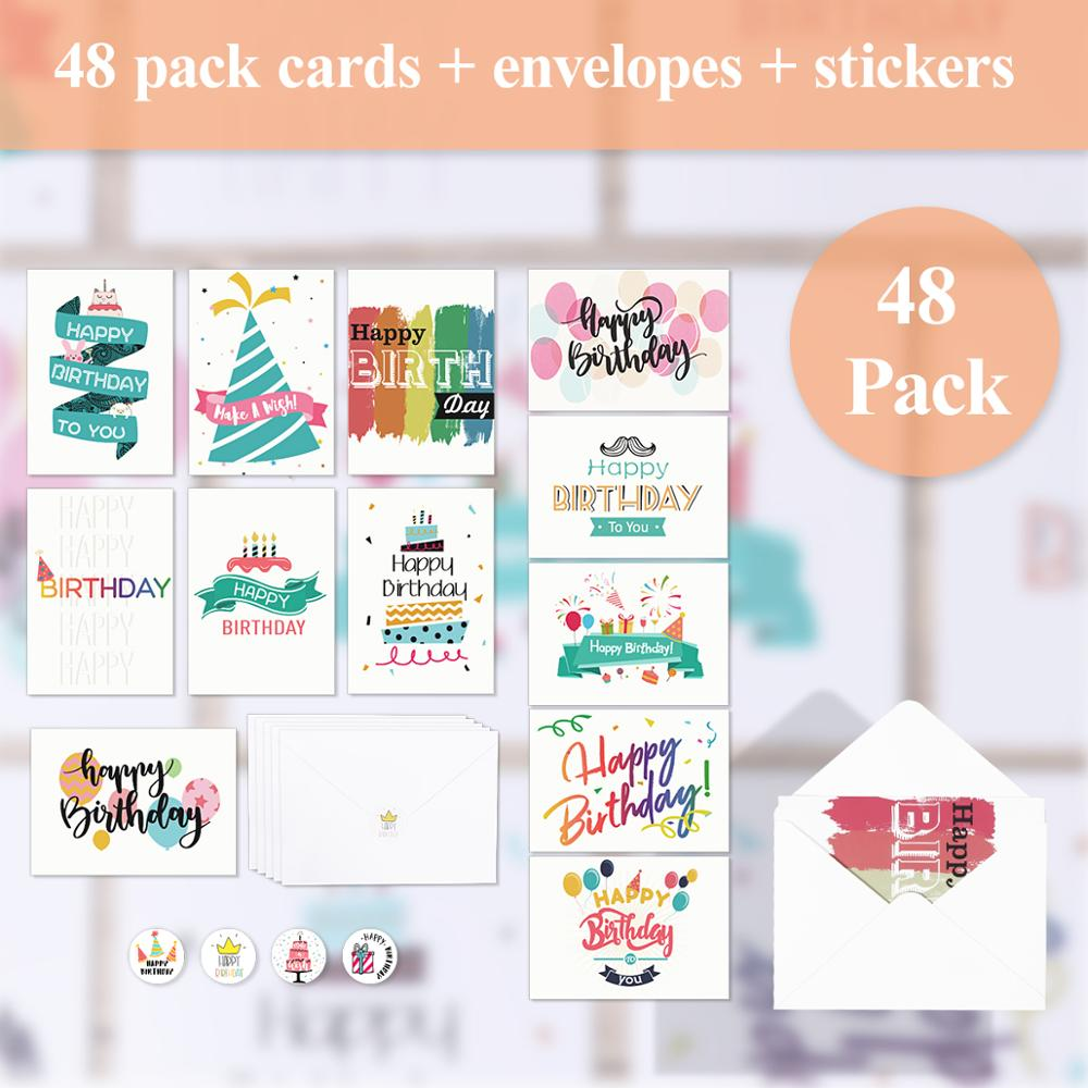 48pcs Birthday Cards Pack Set Lots With Envelopes Stickers For Families Friends Kids Men Women Party Favors