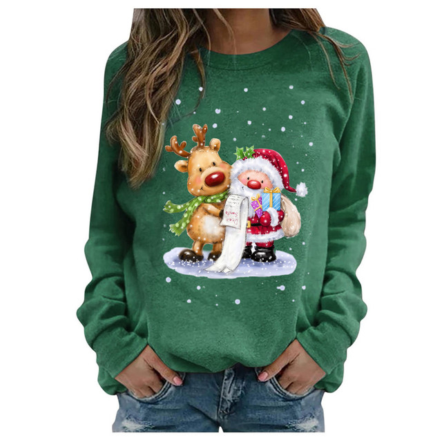 #2020 Fashion Christmas Women's Sweaters Christmas Print Long-sleeved Sweaters Casual Top Loose Sweaters Pullover Female свитер 6