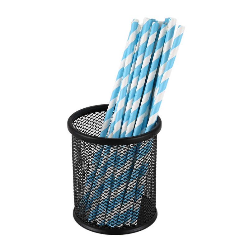 New-25x Paper Straws Birthday Wedding Baby Shower Party Stripes, Light Blue