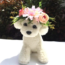 Pet Flower Head Band Wedding Collars Dog Cat Headwear Fashion Simulation Ring Hoop Headband