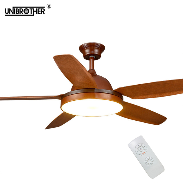 5 Blades Indust ceiling fan with light lamp American color 56 inch dimming fans light simple wooded indoor lighting 110V/220V
