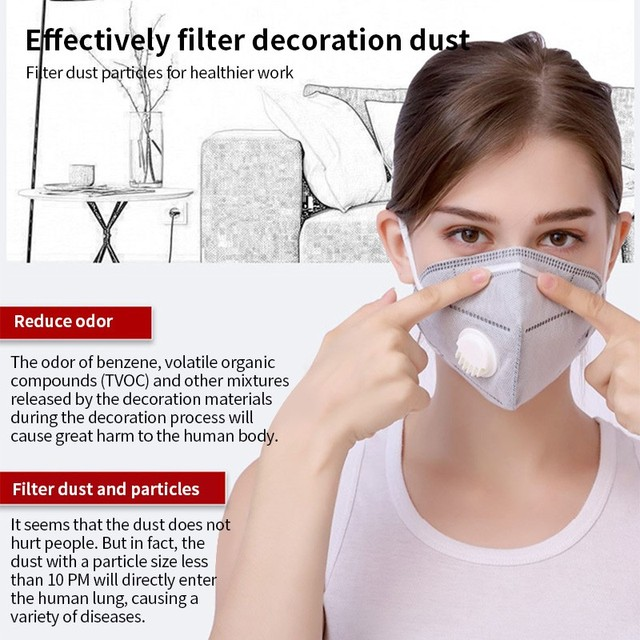 5PCS PM2.5 Anti Air Dust Smoke Pollution Mask Activated carbon filter Windproof Mouth-muffle bacteria proof Flu Face masks Care 3