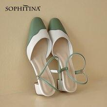 Сандалии sophitina женские на квадратном каблуке модные повседневные