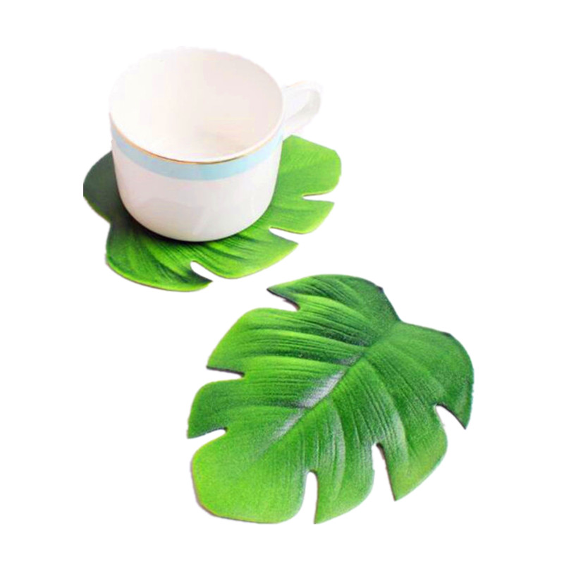 New Hawaii Coffee Tea Cup Mats Table Decor Simulation Leaves Mats