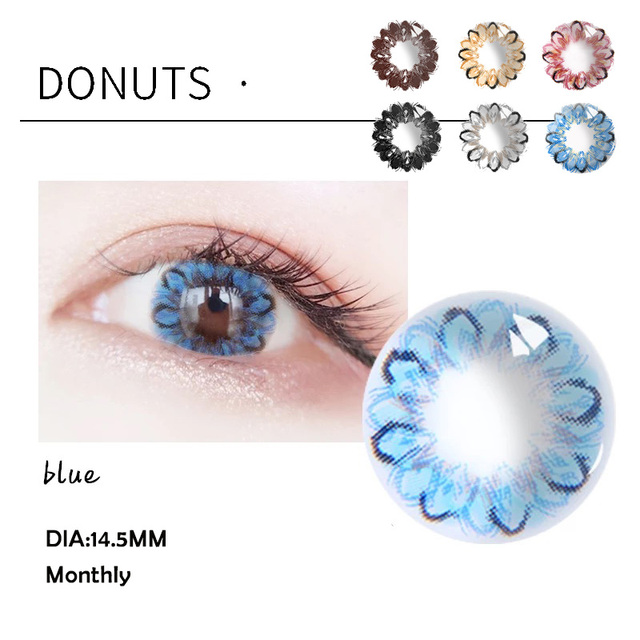 1Pair Beautiful Pupil Color Contact Lenses Monthly Female Path 14.5mm Cute Multicolor Party Gift Dounts Dolly Decoration Cosplay