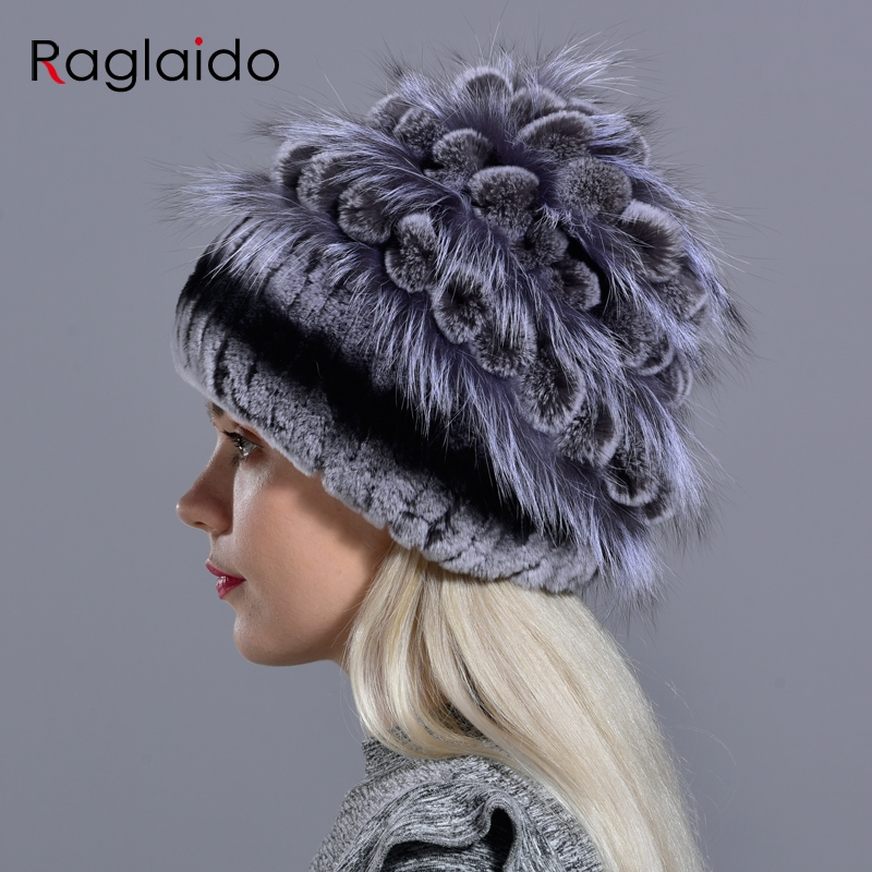 Image 2 - natural fur hats for women  winter knitted rabbit rex hand sewn real fur warm floral elegant girls fashionable stylish hatWomens Bomber Hats   -