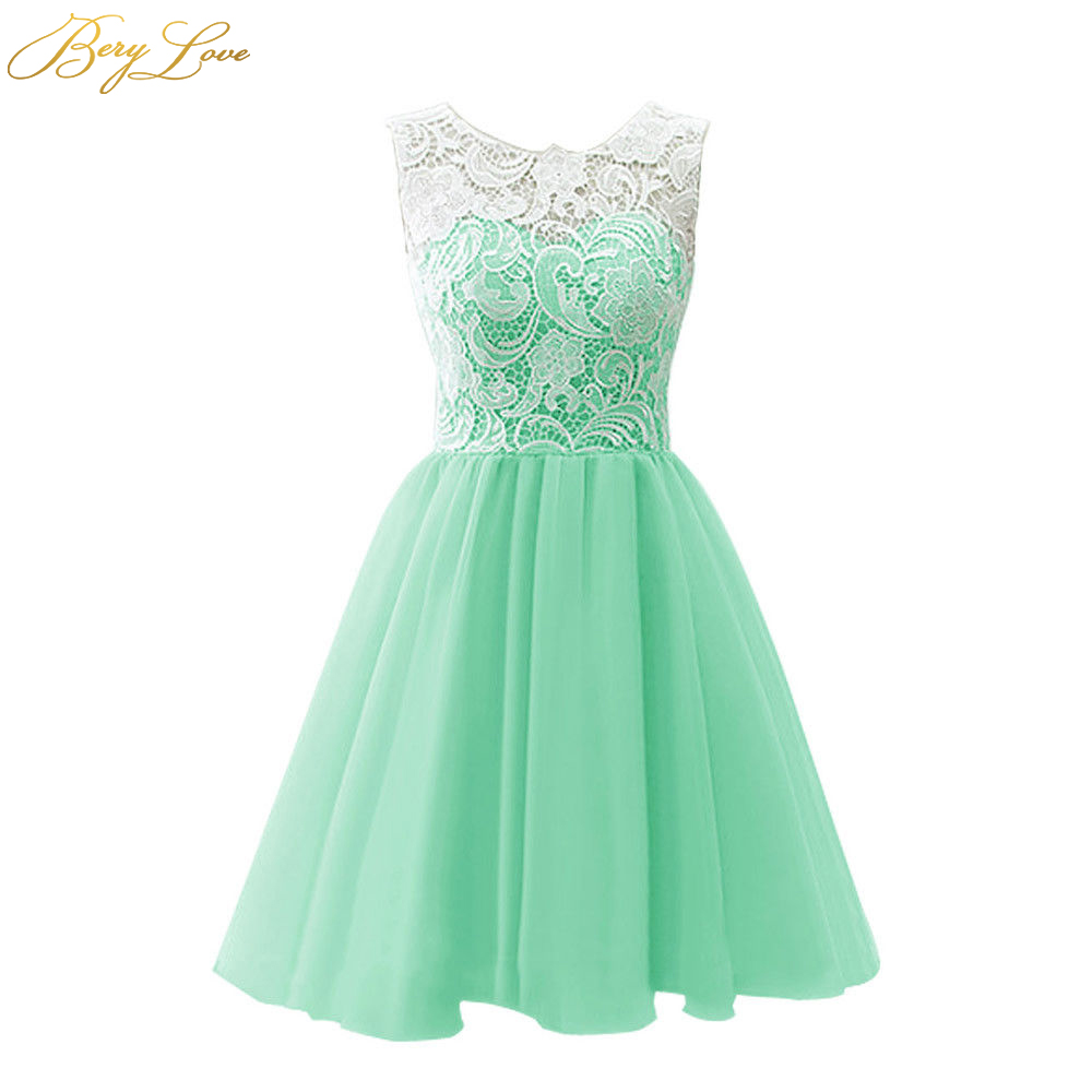 BeryLove Short Mint Homecoming Dresses 2019 Blush Pink Lovely Cute Mini Lace Graduation Gown Cocktail Party Dresses For Prom