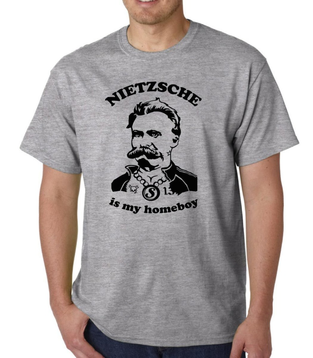 New Nietzsche Is My Homeboy T-Shirt Philosophy Geek Funny Quote Plato Freud Marx Fashion 100% Cotton Slim Fit Top Boyfriend Gift image