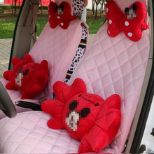ミッキーマウス車のヘッドレスト枕 PP 綿腰サポート漫画カーシート腰椎女性と女の子のため赤白