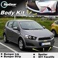 NOVOVISU Lip Lippen Für Chevrolet Aveo T200 T250 T300 2002 ~ 2015/Top Getriebe Shop Spoiler/TOPGEAR körper Kit + Streifen