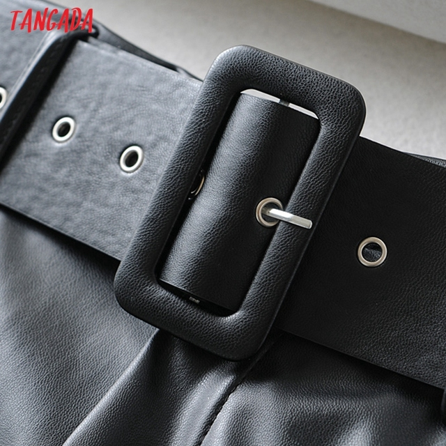 Tangada women black faux leather suit pants high waist pants sashes pockets 2019 office ladies pu leather trousers 6A05 2
