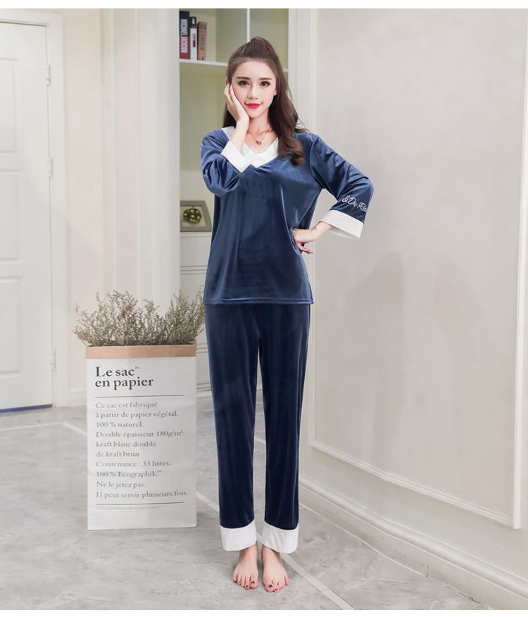 Girls Gold Velvet Pajamas Sets Women Autumn Winter Long Sleeve V-Neck Velour Pyjama Suit Warm Sleepwear Homewear Home Clothes 73